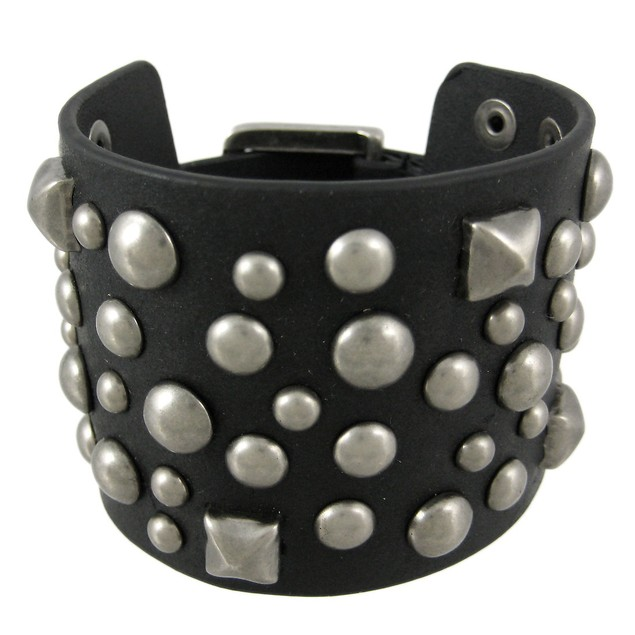 Black Distressed Leather Studded Wristband 2 Inch Mens Leather Bracelets