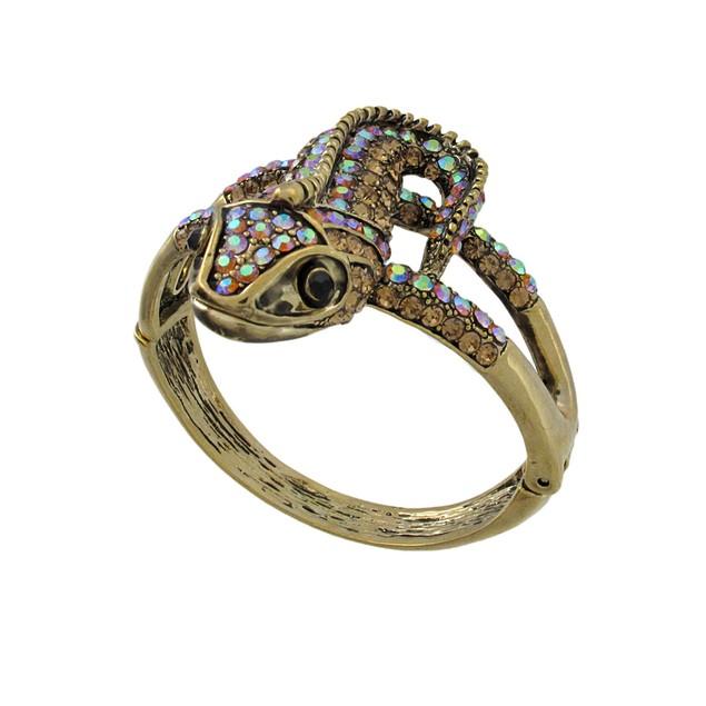 Goldtone Color Changing Rhinestone Lizard Bangle Womens Bangle Bracelets