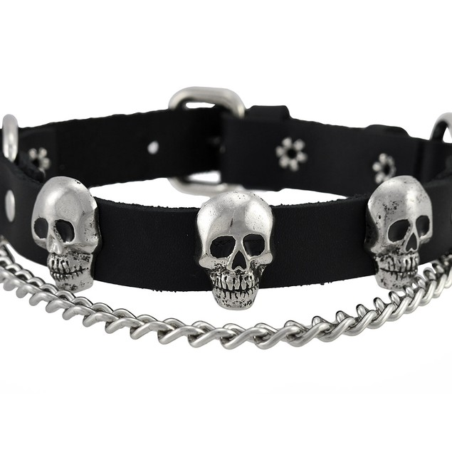 Black Leather Chrome Skull Bootstraps Boot Chains Mens Costume Accessories