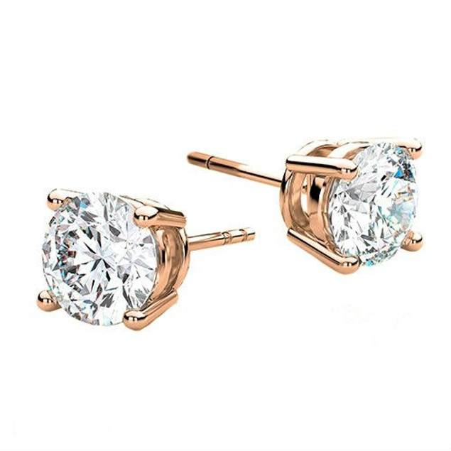 Cubic Zirconia 6mm Round Stud Earrings - 3 Colors