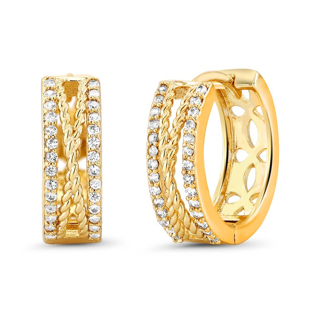 18kt Yellow Tied Goldtone Cubic zirconia  Huggie Earrings