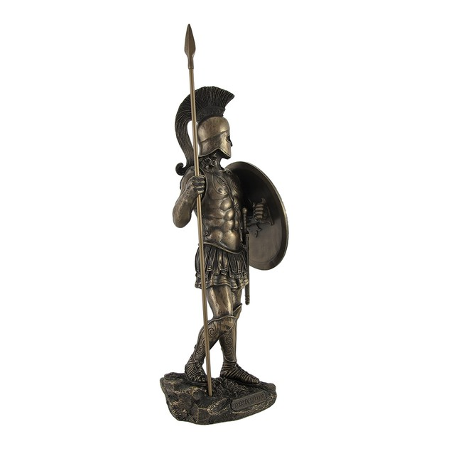 Bronzed Spartan Warrior With Spear And Hoplite Statues