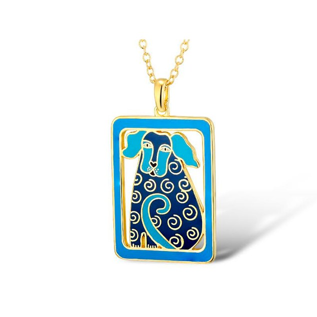 Laurel Burch Dog Tales Blue Cloisonne Pendant W/ Womens Pendant Necklaces