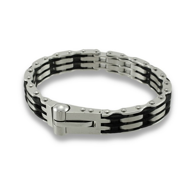 Stainless Steel And Black Rubber Men`S Link Mens Chain Bracelets