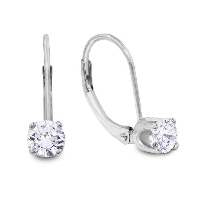 14k White Gold 1/2 Carat Diamond Drop Earrings