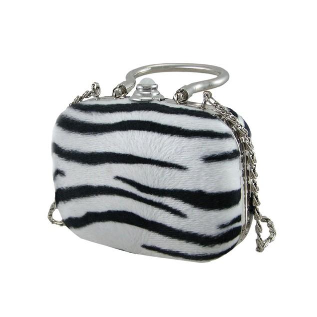 Faux Fur Zebra Print Silver Trim Clutch Purse Womens Clutch Handbags