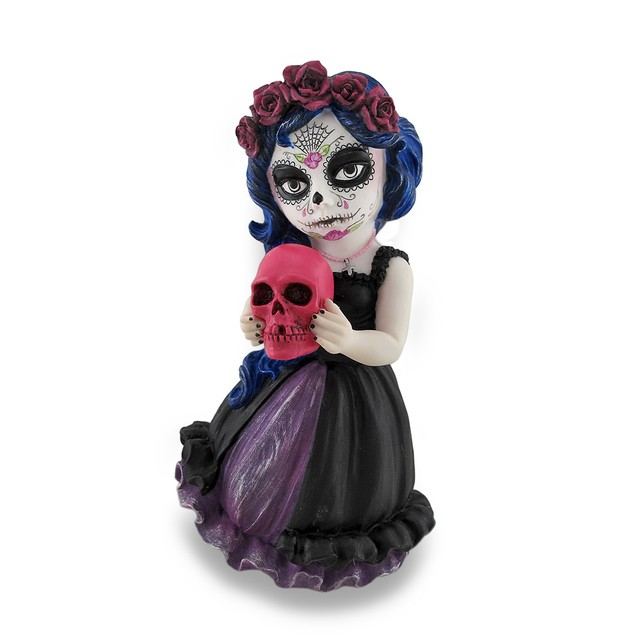 Cosplay Kids Mini Day Of Dead Girl Holding Skull Statues