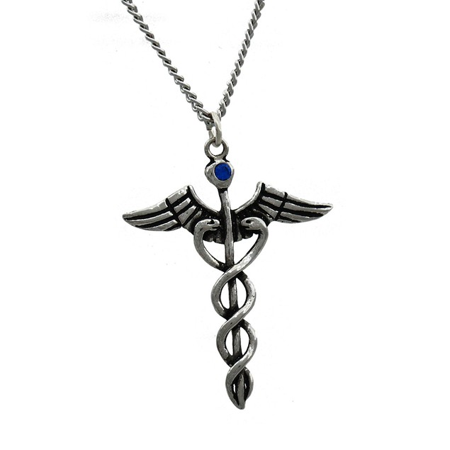Jewel Of Atum- Ra Caduceus Necklace (Healing) Mens Pendant Necklaces