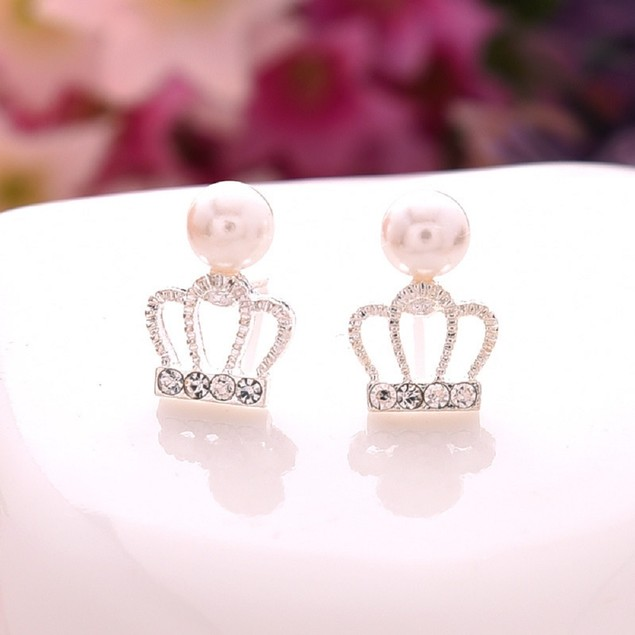 Gold Tone Crown & Pearl Earrings