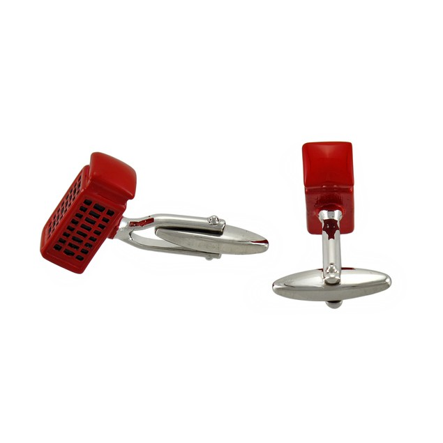 Red Enamel British Telephone Booth Cufflinks Mens Cuff Links