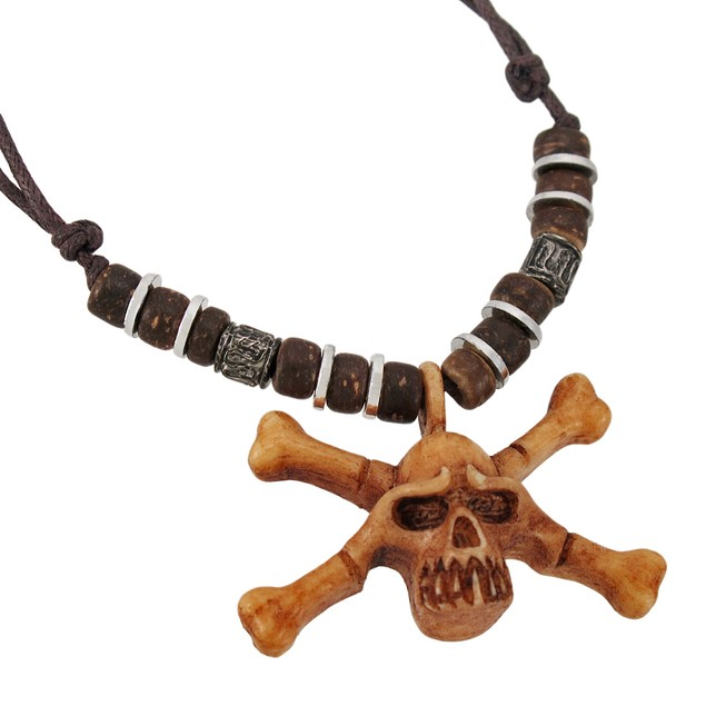 Wooden Skull & Crossbones Pendant W/ Cord Necklace Mens Pendant Necklaces
