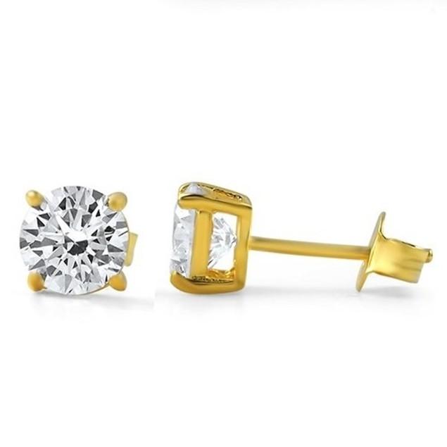 10k Yellow Gold Cubic Zirconia Stud Earrings