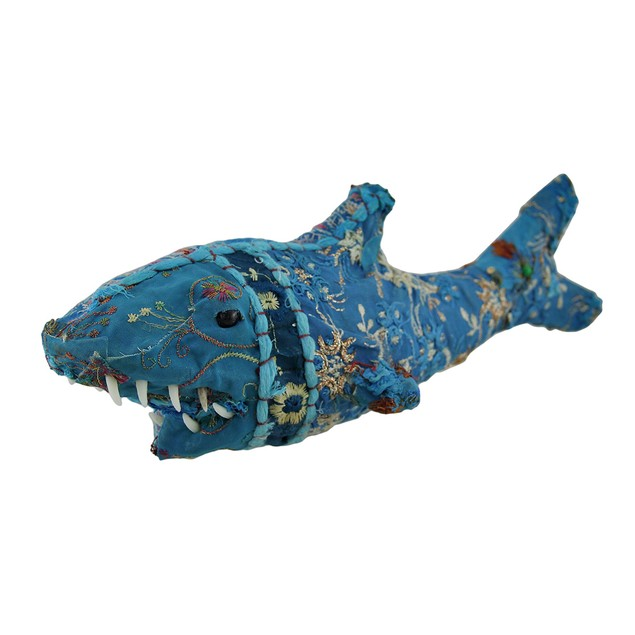Blue Vintage Sari Fabric Covered Paper Mache Shark Statues
