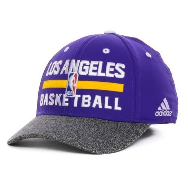 """Los Angeles Lakers NBA Adidas """"Team Practice"""" Stretch Fitted Hat"""