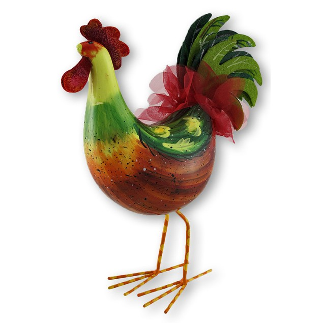 Ceramic Rocking Rooster Figurine Bobble Decoration Statues