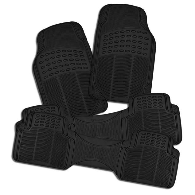 Zone Tech 3 Row 4 Piece Black Universal Rubber All Weather Car Floor Mats