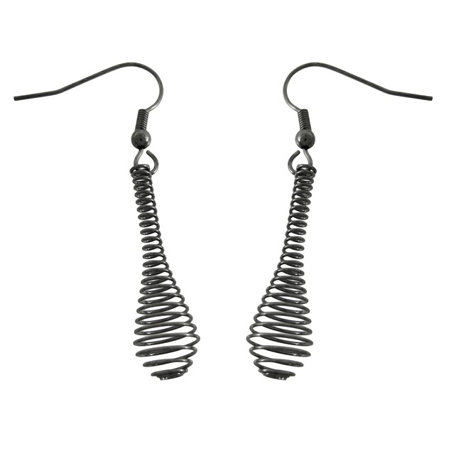 Gunmetal Spiral Wire Drop Necklace / Earrings Set Womens Earring And