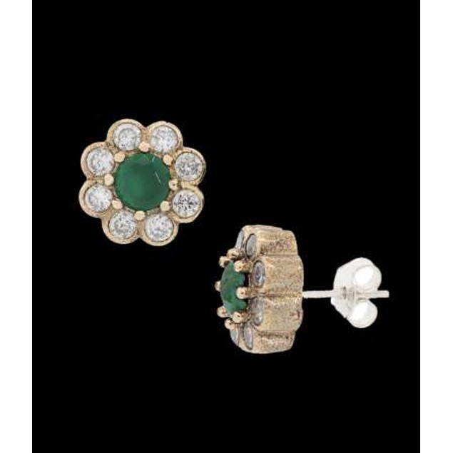 Ottanic Earings With Cz Stones Crafted From .925 Sterling Silver-Emarld
