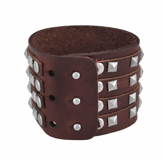 Brown Leather 4 Row Pyramid Studded Wristband Mens Leather Bracelets