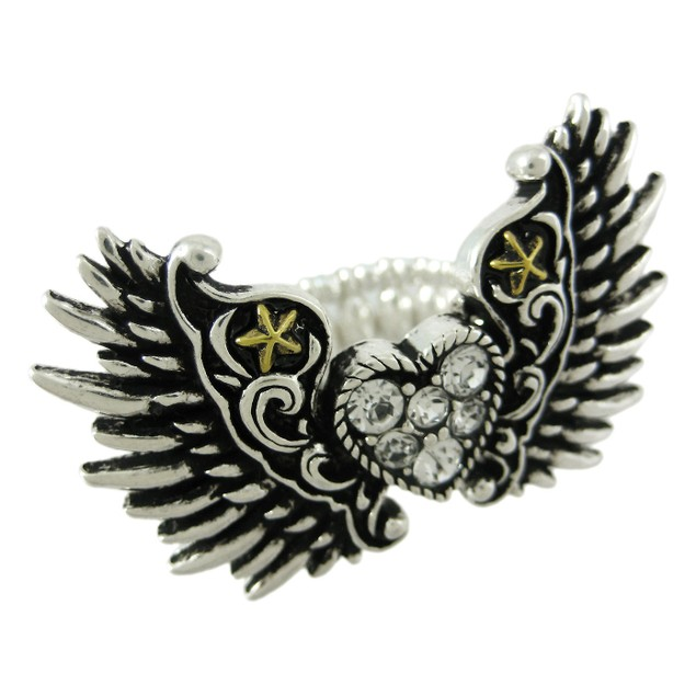 Pewter Winged Rhinestone Heart Stretch Ring Womens Rings