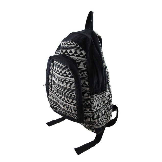 Black And White Aztec Pattern Cotton Tapestry Basic Multipurpose Backpacks