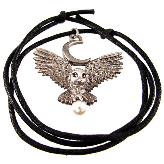 `Flight Of The Goddess` Pewter Owl Pendant Pagan Mens Pendant Necklaces