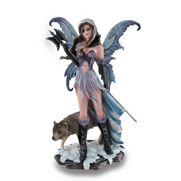 Winter Warrior Fairy Holding Poleaxe With Wolf Statues