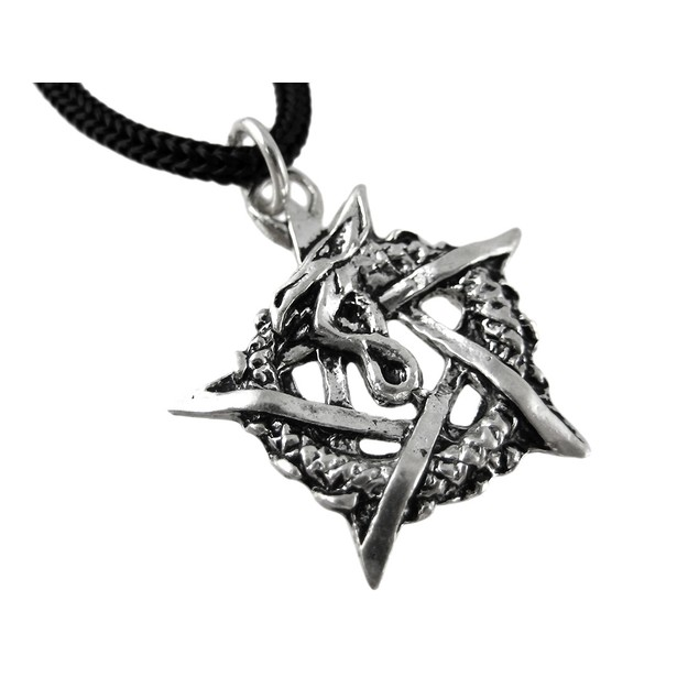Ouroboros Pentagram Pendant W/ Cord Necklace Mens Pendant Necklaces