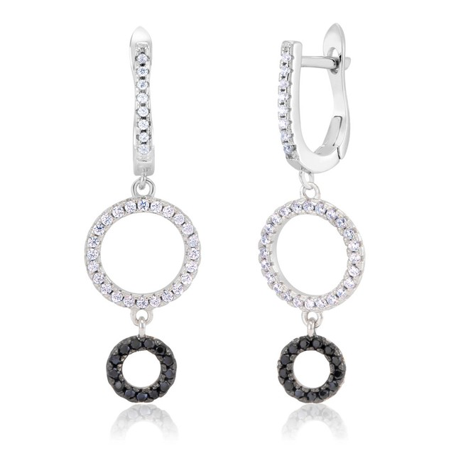 Sterling Silver Double Circle Cubic Zirconia Earrings
