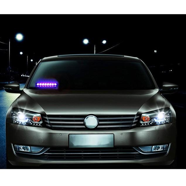 Zone Tech 8 LED Visor Dashboard Emergency Car Warning Strobe Light - Blue