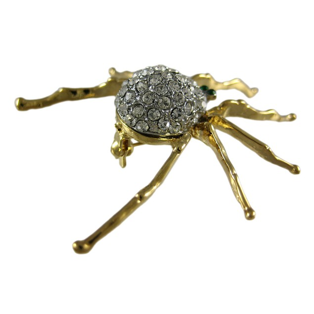 Rhinestone Accented Goldtone Spider Brooch Pin Womens Brooches And Pins