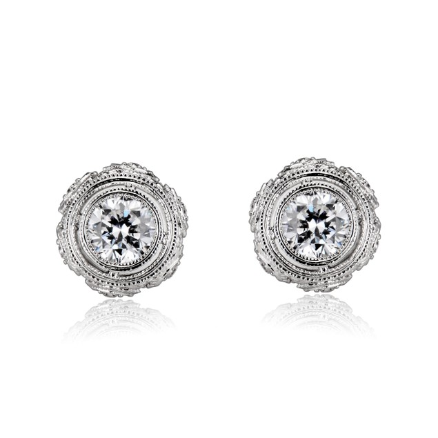 C.Z. Sterling Silver Round Classic Art Deco Stud Style Earrings