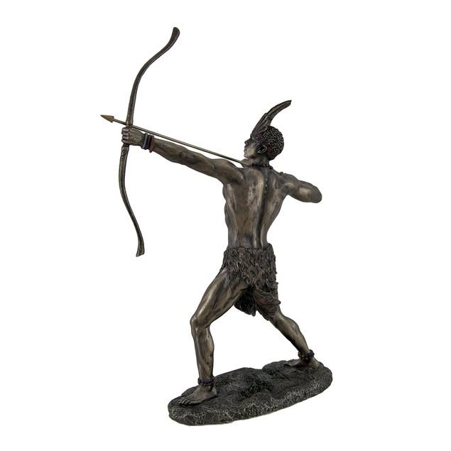 Bronzed Finish Ochosi Divine Hunter Orisha Statue Statues