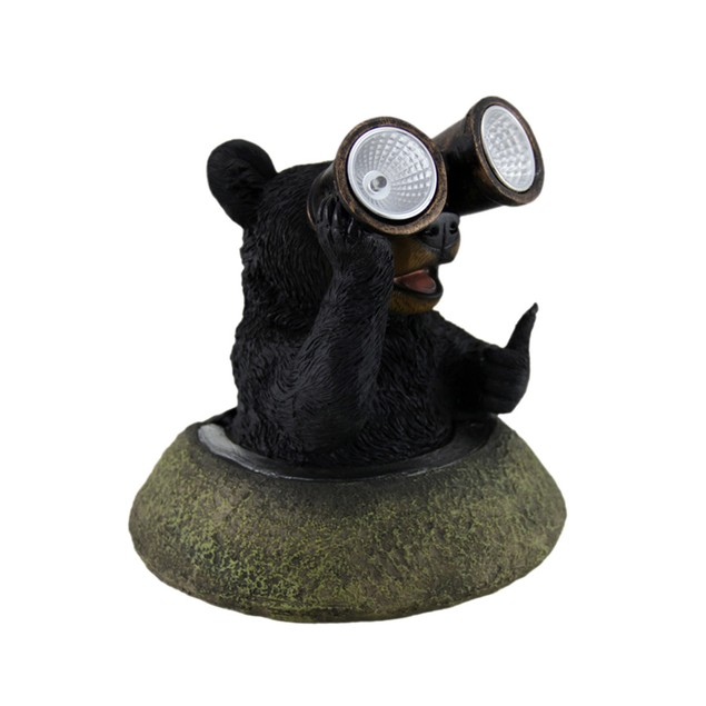 Adorable Solar Eyes Binoculars Black Bear Led Outdoor Figurine Lights