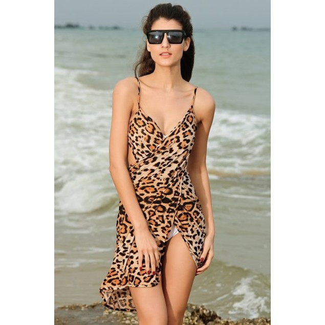 Leaopard Print Beach Cover Up
