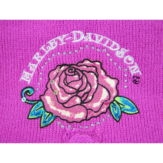 Hot Pink Harley Davidson Knit Scarf, Gloves, Hat Womens Cold Weather