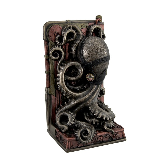 Steampunk Octopus Bronze Finished Single Bookend Decorative Bookends