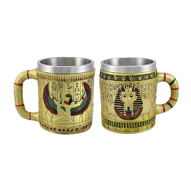 Pair Of Golden Egyptian Coffee Mugs Isis/Pharaoh Coffee Cups