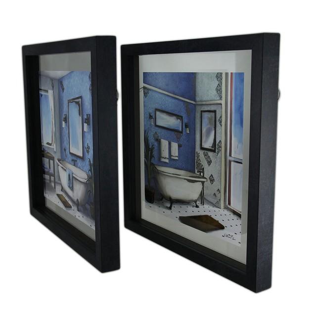 2 Pc. Foiled Urban Bath Floating Frame Wall Prints