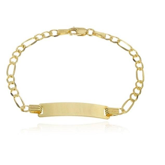 14K Gold Link Chain Baby ID Bracelet