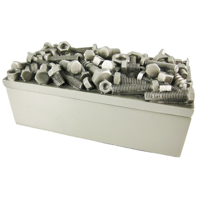 Silver Finish Nuts  Bolts Trinket / Jewelry Box Decorative Boxes