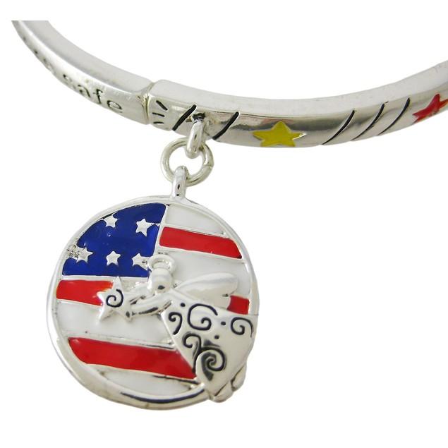 Keep Our Soldiers Safe Patriotic Stretch Bracelet Womens Charm Bracelets