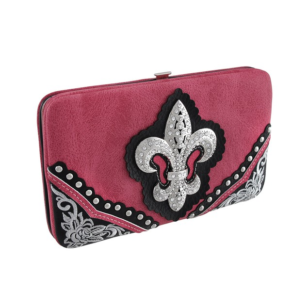 Hot Pink And Black Rhinestone Fleur De Lis Flat Womens Wallets