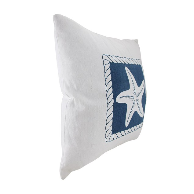 White And Blue Starfish Decorative Canvas Throw Throw Pillows