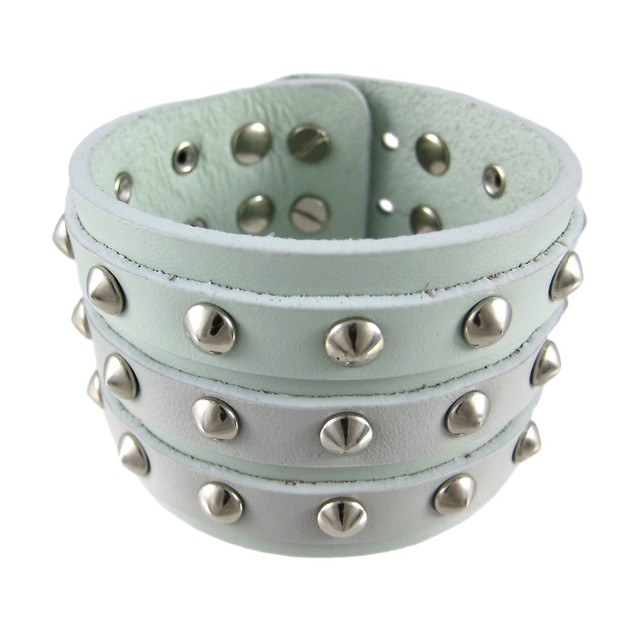 Gray Leather 3 Row Cone Spiked Wristband Blemished Mens Leather Bracelets