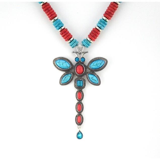 Tribal Southwest Dragonfly Necklace Set