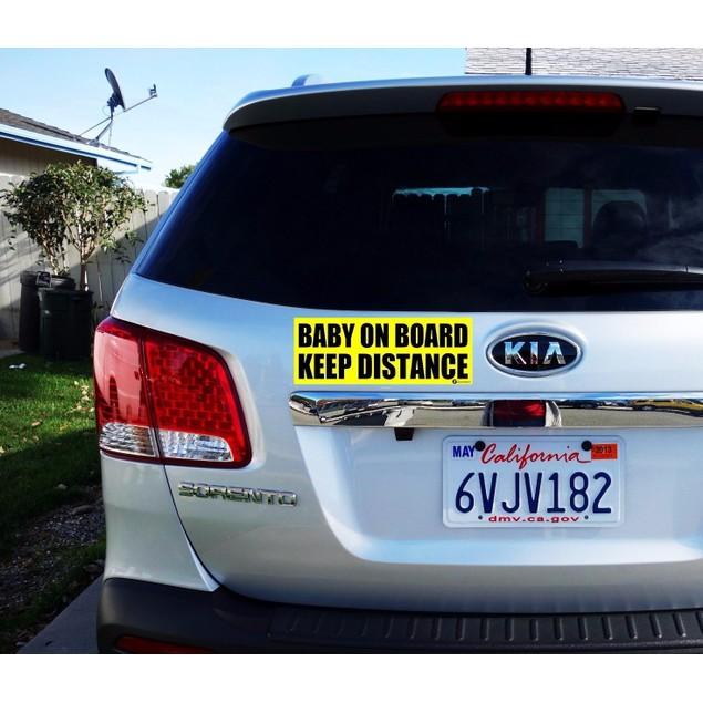 "Zone Tech Baby On Board Keep Distance Car Sticker Bumper Decal  8.5x3.25"""