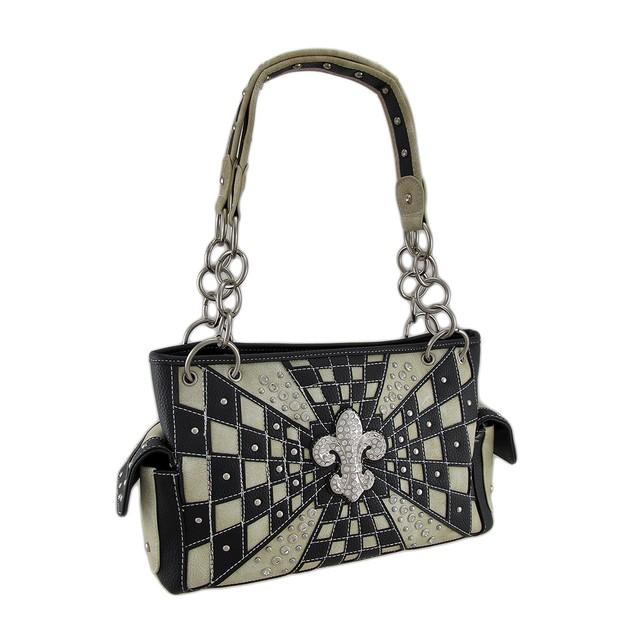 Checkered Rhinestone Fleur De Lis Burst Concealed Womens Shoulder Handbags
