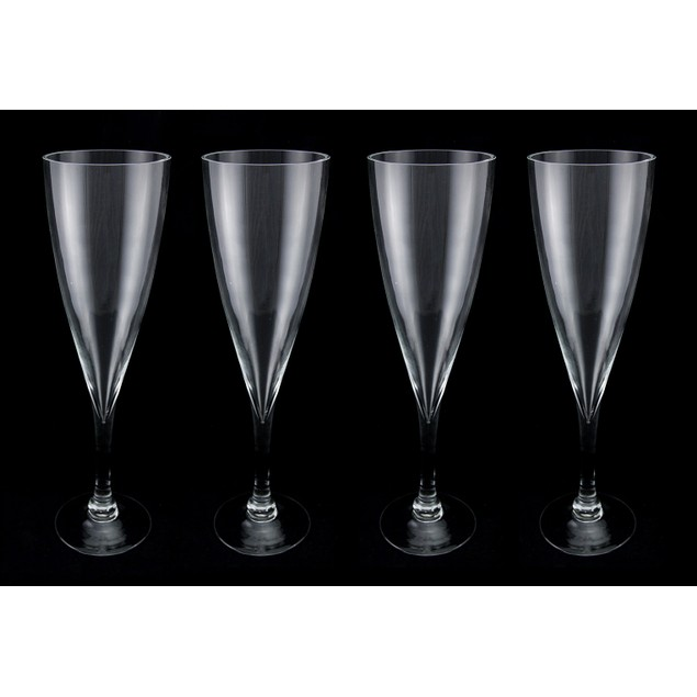 Set Of Four 16 Inch Tall Clear Glass Champagne Decorative Vases