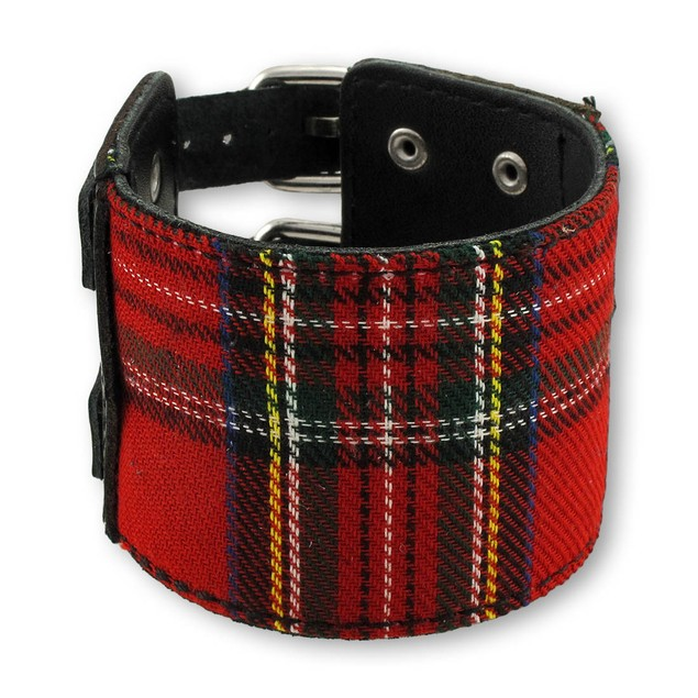 Black And Red Tartan Plaid Double Buckle Bracelet Mens Cuff Bracelets